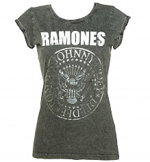 Ladies Charcoal Burnout Classic Ramones Logo T-Shirt with Rolled Sleeves [View details]