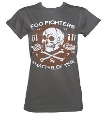 Ladies Charcoal Matter Of Time Foo Fighters Rolled Sleeve Boyfriend T-Shirt [View details]