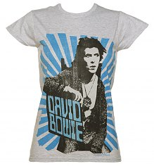 Ladies Grey Marl David Bowie Blue Beams T-Shirt [View details]