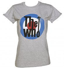 Ladies Grey Marl The Who Target Rolled Sleeve Boyfriend T-Shirt [View details]