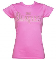 Ladies Pink Diamante Beatles Logo T-Shirt [View details]