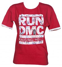 Ladies Red Marl Run DMC Raising Hell Floral Logo T-Shirt from Eleven Paris [View details]