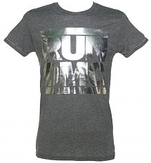 Men's Charcoal Burnout Run DMC Silver Metallic Logo T-Shirt [View details]