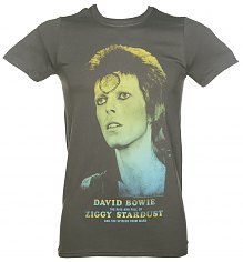 Men's Charcoal David Bowie Ziggy Stardust Rainbow Photo T-Shirt [View details]