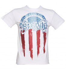 Men's White Aerosmith US Flag T-Shirt from Amplified [View details]