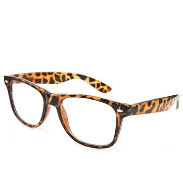 Tortoise-shell Clear Geek Wayfarer Sunglasses