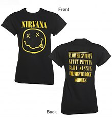 Ladies Black Nirvana Nevermind Rolled Sleeve Boyfriend T-Shirt [View details]
