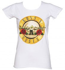 Ladies White Classic Guns N Roses Drum T-Shirt from Amplified [View details]
