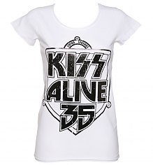 Ladies White Kiss Alive 35 T-Shirt from Amplified [View details]