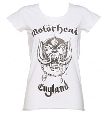 Ladies White Motorhead England T-Shirt from Amplified [View details]