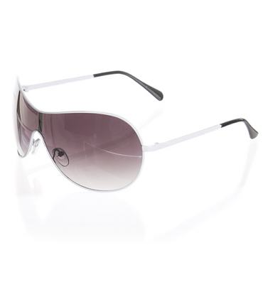 White Frame Black Lens Aviator Wrap Visor Sunglasses