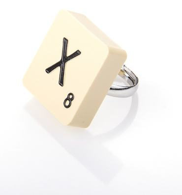 X Scrabble Ring from Bits and Bows