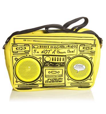 Yellow Retro Boombox Shoulder Bag With Working Speakers from Fydelity