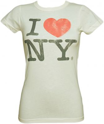 Ladies Sugar White I Love NY T-Shirt from Junk Food